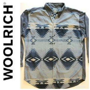Woolrich Aztec Blue and Grey Button Shirt XXL 2XL